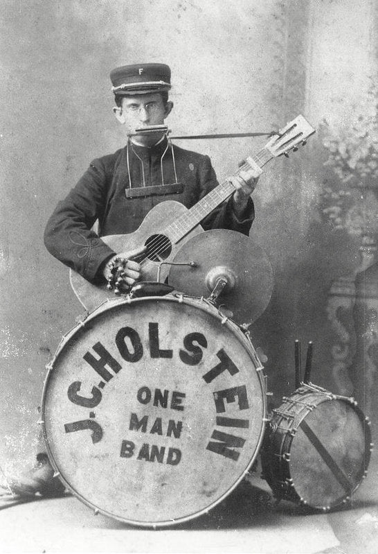 Vintage One Man Band Musician - Art Print from Wallasso - The Wall Art Superstore