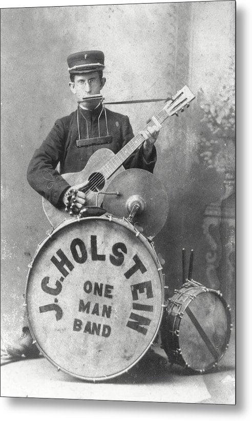 Vintage One Man Band Musician - Metal Print from Wallasso - The Wall Art Superstore