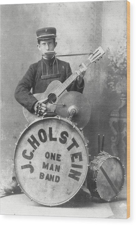 Vintage One Man Band Musician - Wood Print from Wallasso - The Wall Art Superstore