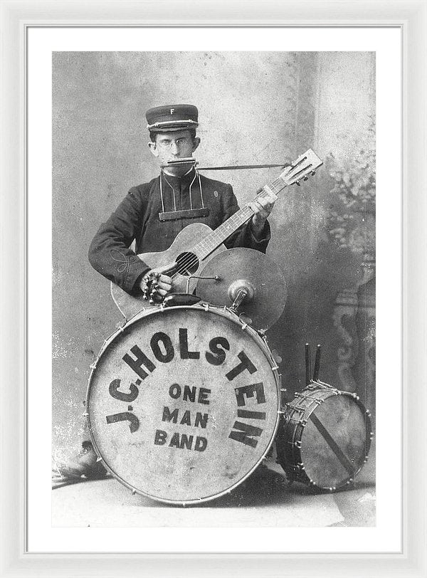 Vintage One Man Band Musician - Framed Print from Wallasso - The Wall Art Superstore