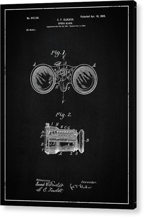 Vintage Opera Glasses Patent, 1900 - Acrylic Print from Wallasso - The Wall Art Superstore