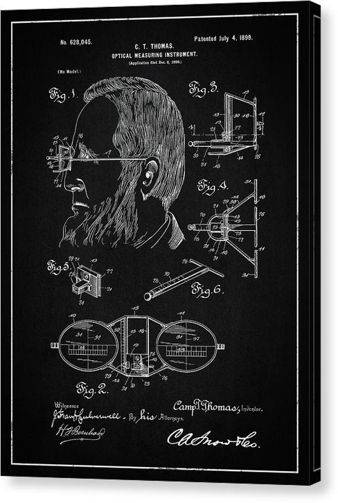 Vintage Optical Measuring Instrument Patent, 1899 - Canvas Print from Wallasso - The Wall Art Superstore