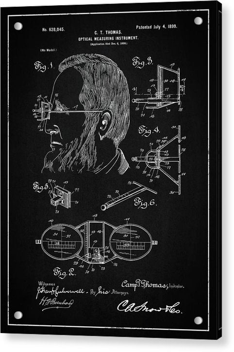 Vintage Optical Measuring Instrument Patent, 1899 - Acrylic Print from Wallasso - The Wall Art Superstore