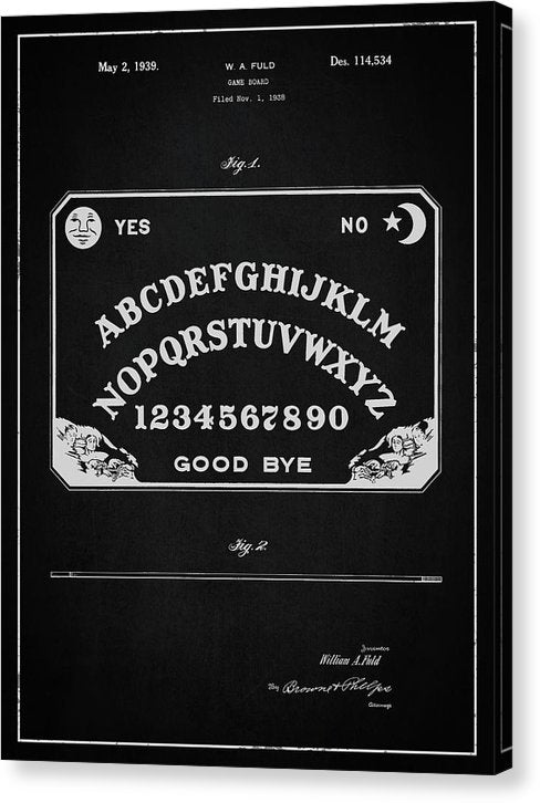 Vintage Ouija Board Patent, 1939 - Canvas Print from Wallasso - The Wall Art Superstore