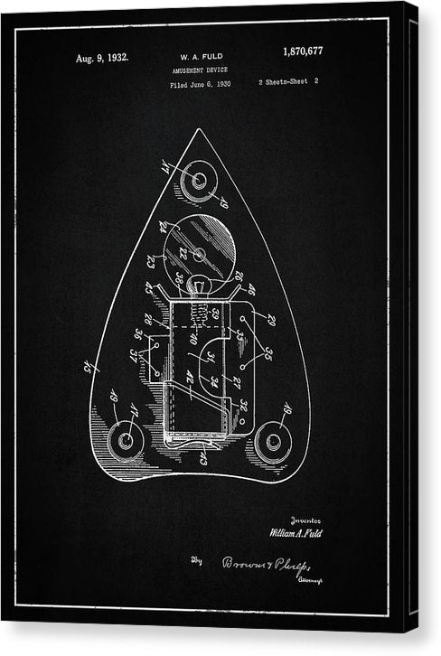 Vintage Ouija Spirit Board Planchette Patent, 1932 - Canvas Print from Wallasso - The Wall Art Superstore