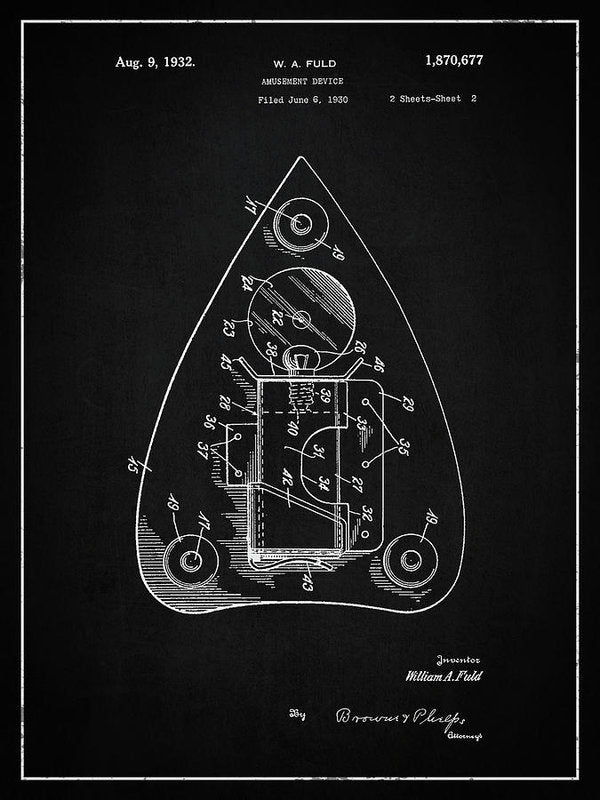 Vintage Ouija Spirit Board Planchette Patent, 1932 - Art Print from Wallasso - The Wall Art Superstore