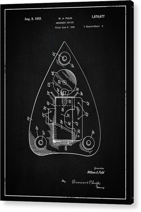 Vintage Ouija Spirit Board Planchette Patent, 1932 - Acrylic Print from Wallasso - The Wall Art Superstore