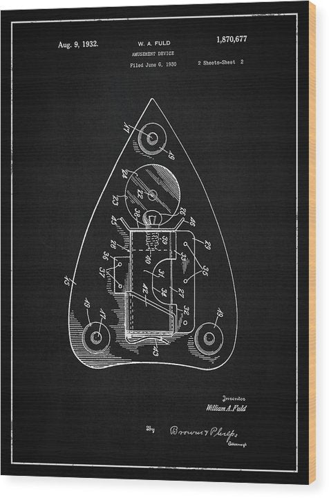 Vintage Ouija Spirit Board Planchette Patent, 1932 - Wood Print from Wallasso - The Wall Art Superstore