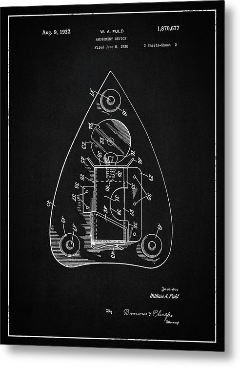 Vintage Ouija Spirit Board Planchette Patent, 1932 - Metal Print from Wallasso - The Wall Art Superstore