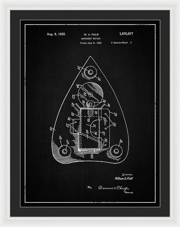 Vintage Ouija Spirit Board Planchette Patent, 1932 - Framed Print from Wallasso - The Wall Art Superstore