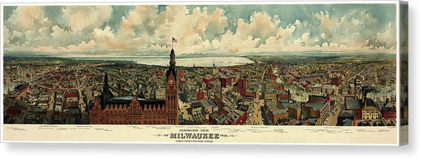 Vintage Panoramic Map of Milwaukee, Wisconsin From 1898 - Canvas Print from Wallasso - The Wall Art Superstore