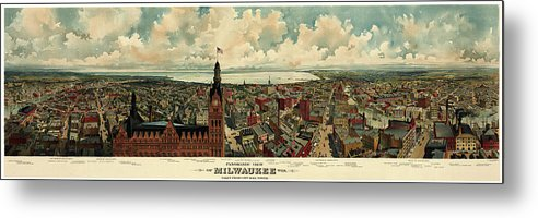 Vintage Panoramic Map of Milwaukee, Wisconsin From 1898 - Metal Print from Wallasso - The Wall Art Superstore