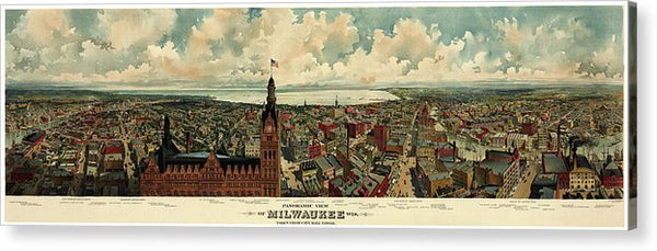 Vintage Panoramic Map of Milwaukee, Wisconsin From 1898 - Acrylic Print from Wallasso - The Wall Art Superstore