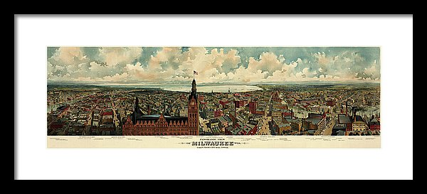 Vintage Panoramic Map of Milwaukee, Wisconsin From 1898 - Framed Print from Wallasso - The Wall Art Superstore