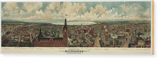Vintage Panoramic Map of Milwaukee, Wisconsin From 1898 - Wood Print from Wallasso - The Wall Art Superstore