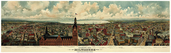 Vintage Panoramic Map of Milwaukee, Wisconsin From 1898 - Art Print from Wallasso - The Wall Art Superstore