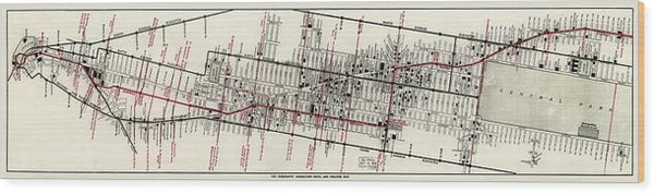 Vintage Panoramic Map of New York City Hotels and Theaters From 1906 - Wood Print from Wallasso - The Wall Art Superstore