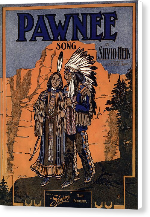 Vintage Pawnee Song Cover With Indian Chief, 1906 - Canvas Print from Wallasso - The Wall Art Superstore