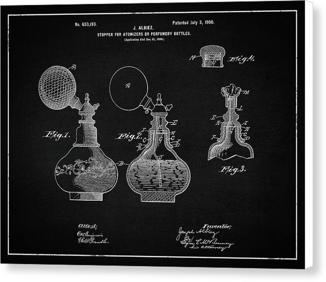 Vintage Perfume Bottle Patent, 1900 - Canvas Print from Wallasso - The Wall Art Superstore