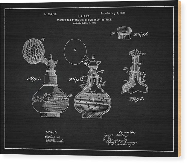 Vintage Perfume Bottle Patent, 1900 - Wood Print from Wallasso - The Wall Art Superstore