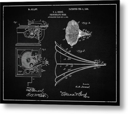 Vintage Phonograph Patent, 1906 - Metal Print from Wallasso - The Wall Art Superstore