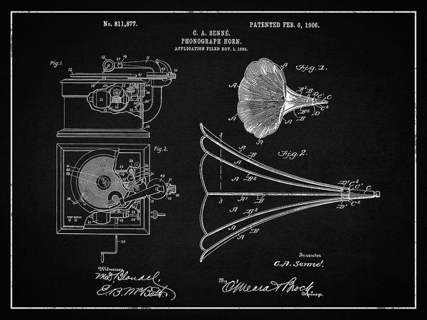 Vintage Phonograph Patent, 1906 - Art Print from Wallasso - The Wall Art Superstore