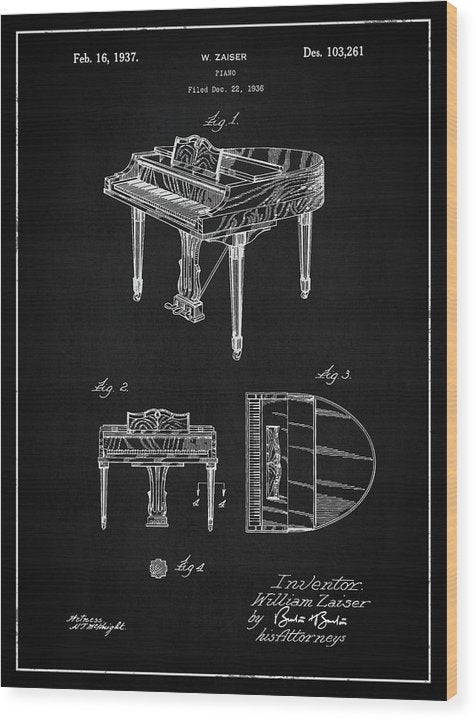 Vintage Piano Patent, 1937 - Wood Print from Wallasso - The Wall Art Superstore