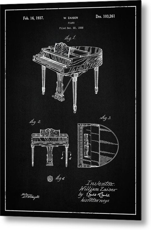 Vintage Piano Patent, 1937 - Metal Print from Wallasso - The Wall Art Superstore