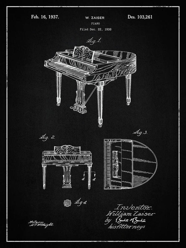 Vintage Piano Patent, 1937 - Art Print from Wallasso - The Wall Art Superstore
