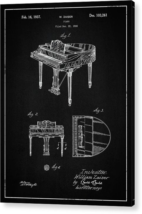 Vintage Piano Patent, 1937 - Acrylic Print from Wallasso - The Wall Art Superstore