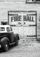 Vintage Pickup Truck Parked At Fire Hall - Art Print from Wallasso - The Wall Art Superstore
