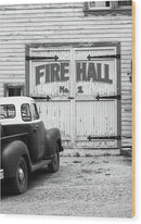 Vintage Pickup Truck Parked At Fire Hall - Wood Print from Wallasso - The Wall Art Superstore