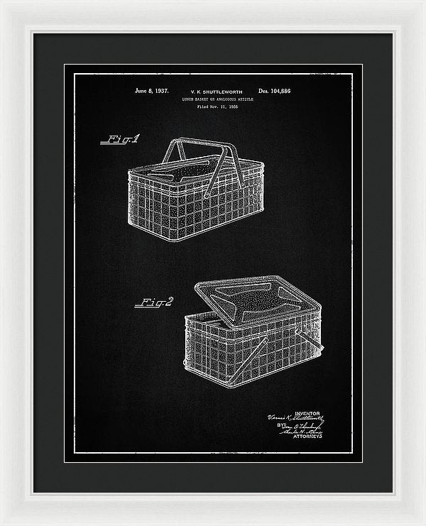 Vintage Picnic Basket Patent, 1937 - Framed Print from Wallasso - The Wall Art Superstore