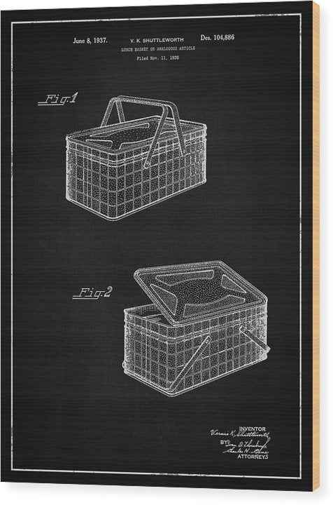 Vintage Picnic Basket Patent, 1937 - Wood Print from Wallasso - The Wall Art Superstore