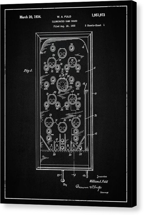 Vintage Pinball Machine Patent, 1934 - Canvas Print from Wallasso - The Wall Art Superstore