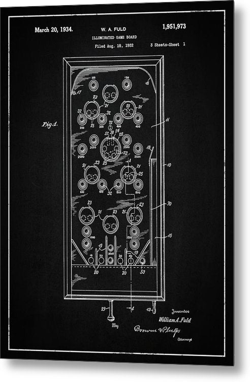 Vintage Pinball Machine Patent, 1934 - Metal Print from Wallasso - The Wall Art Superstore