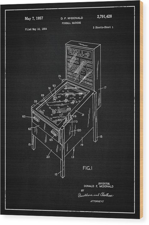 Vintage Pinball Machine Patent, 1957 - Wood Print from Wallasso - The Wall Art Superstore