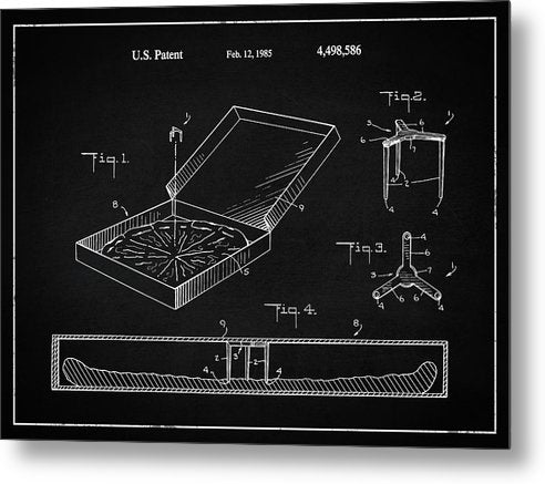 Vintage Pizza Box Patent, 1985 - Metal Print from Wallasso - The Wall Art Superstore