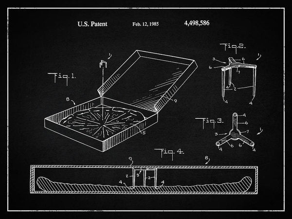 Vintage Pizza Box Patent, 1985 - Art Print from Wallasso - The Wall Art Superstore