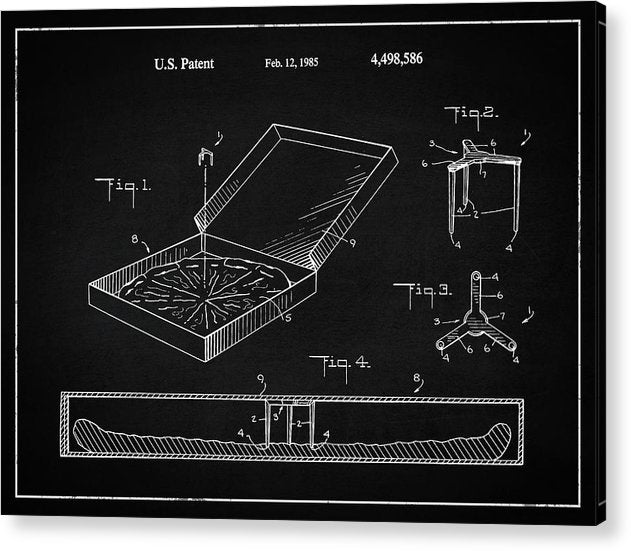 Vintage Pizza Box Patent, 1985 - Acrylic Print from Wallasso - The Wall Art Superstore