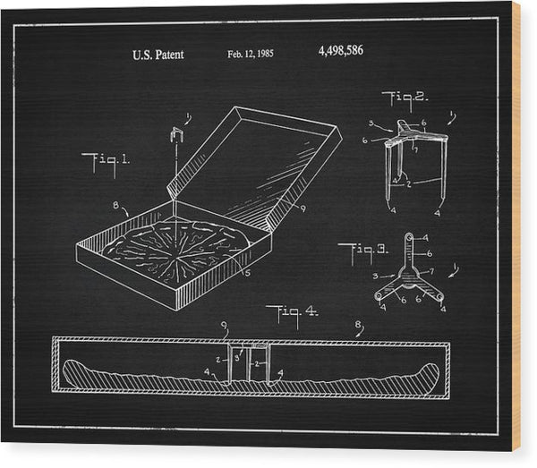 Vintage Pizza Box Patent, 1985 - Wood Print from Wallasso - The Wall Art Superstore
