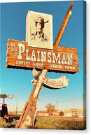 Vintage Plainsman Restaurant Sign On Route 66 - Canvas Print from Wallasso - The Wall Art Superstore