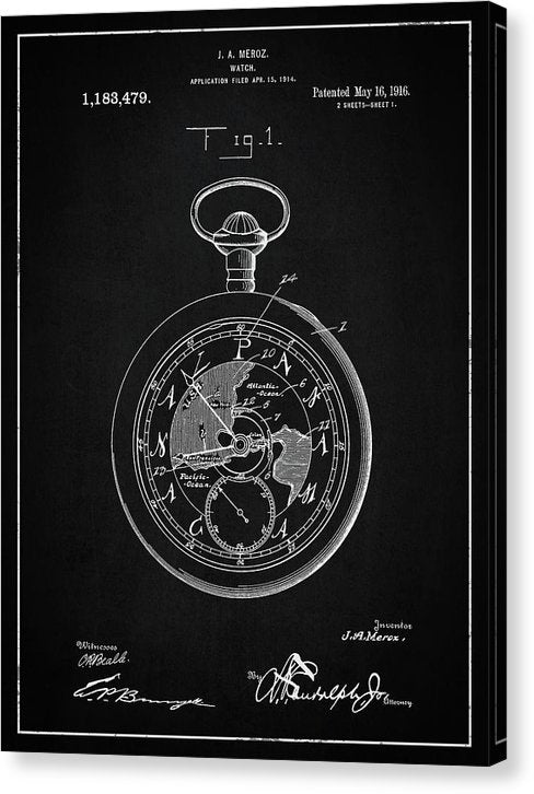 Vintage Pocket Watch Patent, 1916 - Canvas Print from Wallasso - The Wall Art Superstore