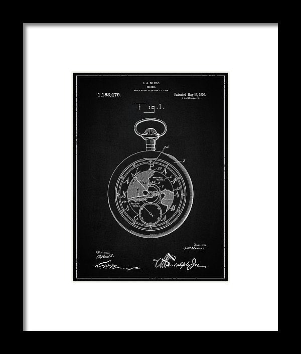 Vintage Pocket Watch Patent, 1916 - Framed Print from Wallasso - The Wall Art Superstore