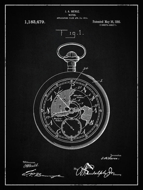 Vintage Pocket Watch Patent, 1916 - Art Print from Wallasso - The Wall Art Superstore