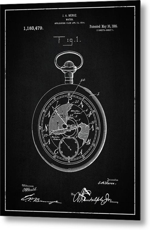 Vintage Pocket Watch Patent, 1916 - Metal Print from Wallasso - The Wall Art Superstore