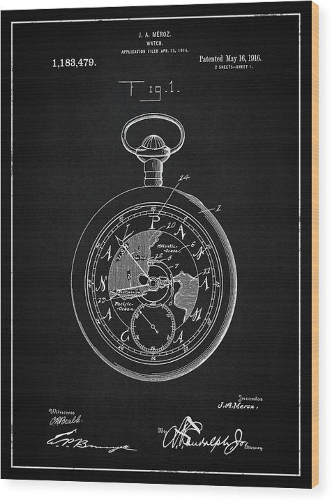 Vintage Pocket Watch Patent, 1916 - Wood Print from Wallasso - The Wall Art Superstore