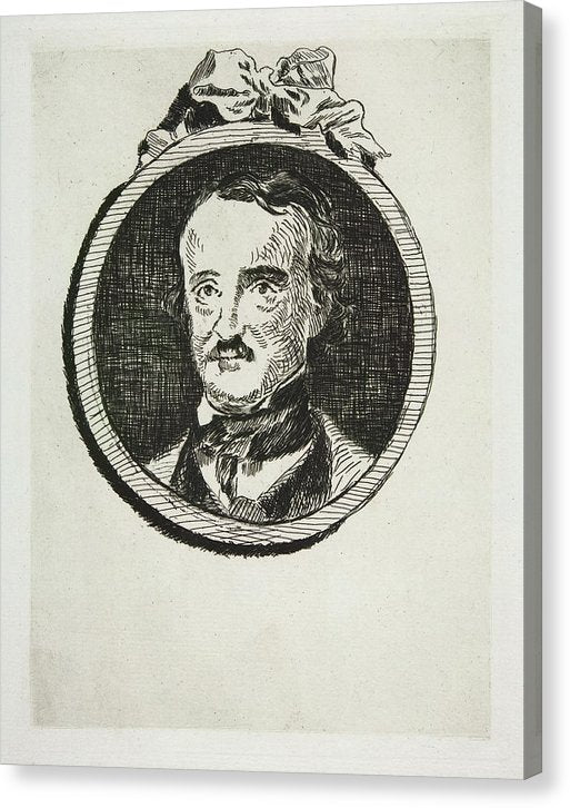 Vintage Portrait of Edgar Allan Poe by Edouard Manet - Canvas Print from Wallasso - The Wall Art Superstore