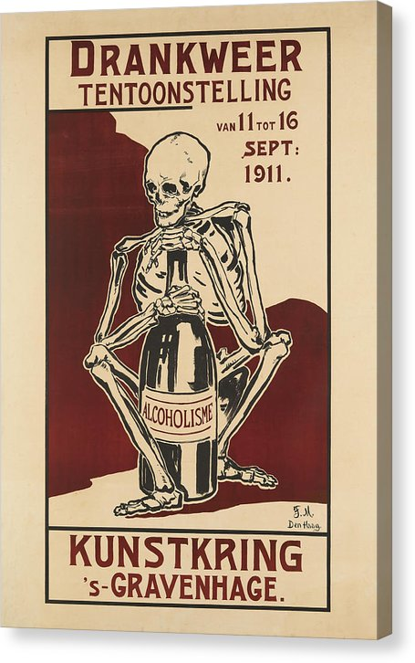 Vintage Poster Of Skeleton Clutching Alcohol Bottle, 1911 - Canvas Print from Wallasso - The Wall Art Superstore