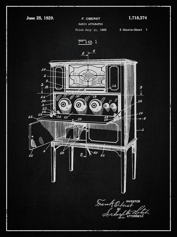 Vintage Radio Patent, 1929 - Art Print from Wallasso - The Wall Art Superstore